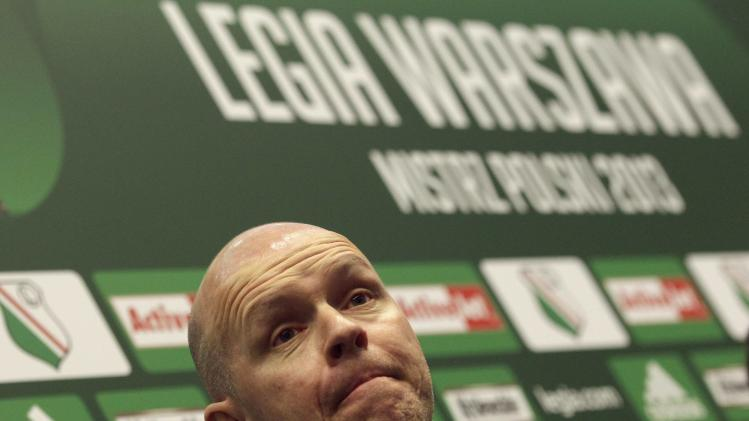 Legia Warsaw's new coach Berg attends a news conference in Warsaw