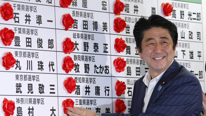 Japanese Prime Minister Shinzo Abe smiles as he places a red rosette on the name of his Liberal Democratic Party's winning candidate during ballot counting for the upper house elections at the party headquarters in Tokyo Sunday, July 21, 2013. Japanese broadcasters projected that Abe's ruling coalition won a majority of seats in the upper house of parliament in elections, giving it control of both chambers for the first time in six years. (AP Photo/Shizuo Kambayashi)
