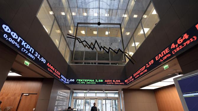 The Athens stock market plunged more than six percent before recovering slightly at the close as investors fretted over whether the new radical left government will renege on Greece's international bailout
