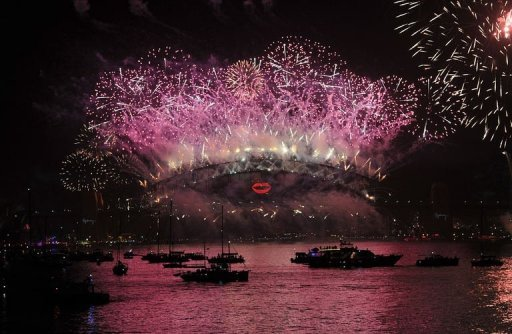 <p>New Year's Eve fireworks erupt over the Sydney Harbour Bridge on January 1, 2013. The spectacular fireworks exploded over Sydney in a blaze of light and colour to ring in the New Year, as the city kicked off a wave of global celebrations from Dubai to London to welcome 2013.</p>