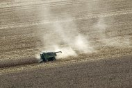 Dust blows from behind a combine harvesting corn in a field near Coy, Ark., Thursday, Aug. 16, 2012. Federal weather forecasters say drought conditions appear to be leveling off, although it is likely to continue at least through November. (AP Photo/Danny Johnston)