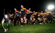 Waikato Chiefs&#39; rugby players perform the Haka after their Super 15 rugby union final match against the Coastal Sharks at Waikato Stadium in Hamilton, on August 4. Burglars ransacked the home of Chiefs coach Dave Rennie while his side were winning a maiden Super 15 title in Hamilton, he has revealed