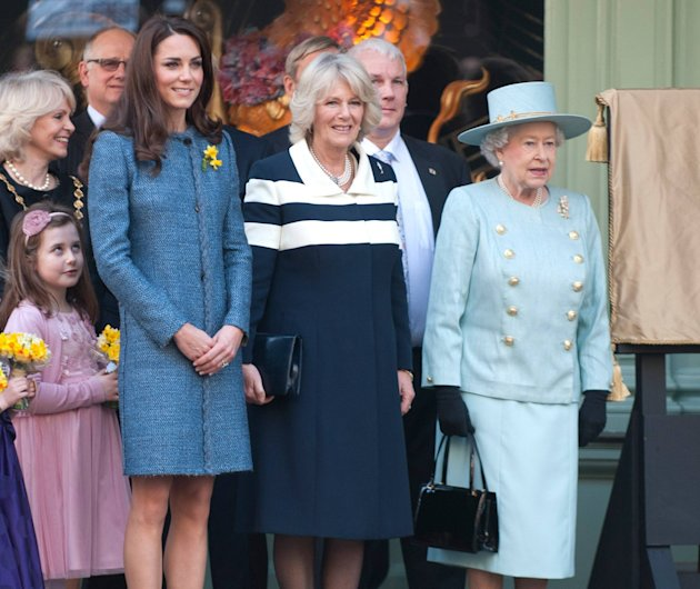Queen Elizabeth II, Camilla, Duchess of Cornwall and Catherine, Duchess of Cambridge, aka Kate Middleton, 