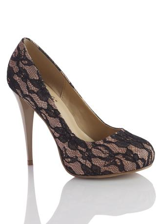 Affordable alternative: Sizzle by Coloriffics Lace Over Satin Platform Pump, $59