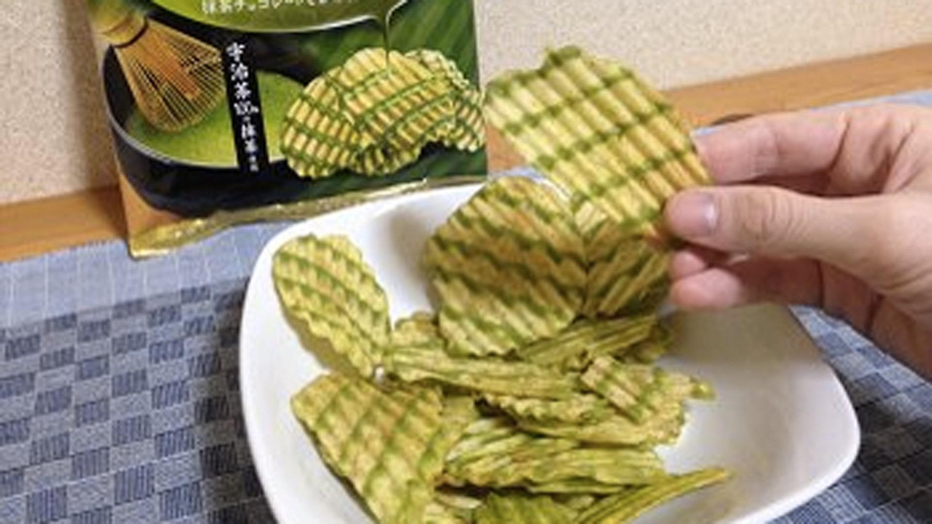 Matcha flavored chocolate-covered potato chips are a thing in Japan now