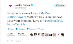 Celebrity Twitter Ads: Regulations, Allegations and Selling Out image Justin Bieber Mothers