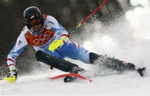 Austria's Matt clears a gate during the first run of the men's alpine skiing slalom event at the 2014 Sochi Winter Olympics