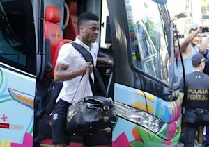 England national soccer team player Raheem Sterling arrives at the Blue tree hotel in Manaus