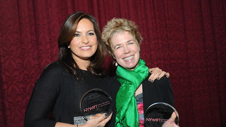 Actress Mariska Hargitay, left, and documentary filmmaker Lisa F. Jackson are honored at the 32nd annual Muse Awards presented by New York Women in Film & Television (NYWIFT), Thursday, Dec. 13, 2012, in New York.   The event also honored actress Lucy Liu, Kim Martin, President & General Manager WE tv, and Debra Zimmerman, of Women Make Movies.  (Diane Bondareff/Invision for  NYWIFT/AP Images)