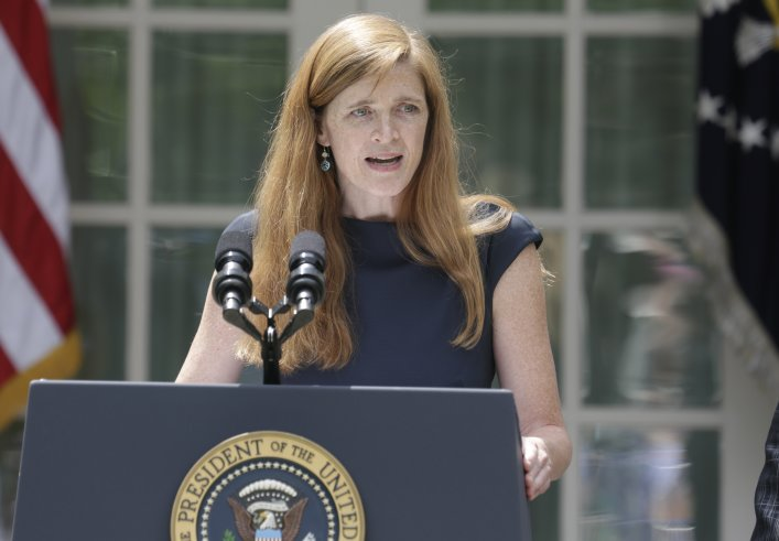 File photo of Samantha Power, nominated to be the new U.S. Ambassador to the United Nations, speaking about her appointment in the Rose Garden of the White House