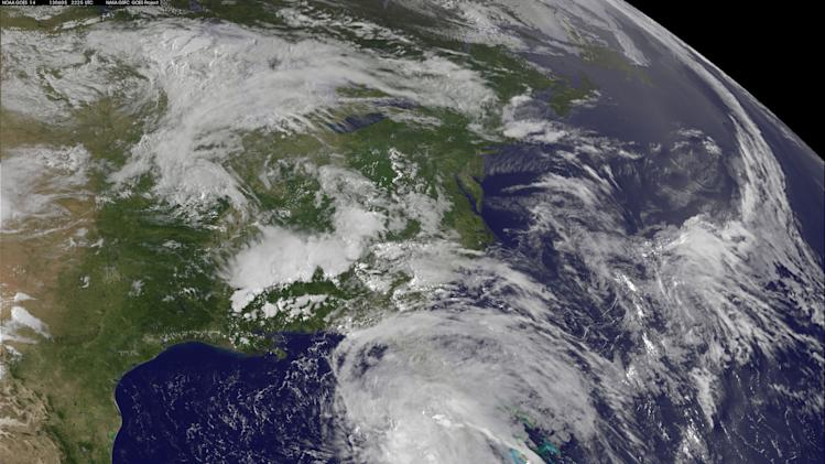In this Wednesday, June 5, 2013 GOES satellite photo provided by NASA/NOAA, Andrea, the first named storm of the Atlantic season, forms over the Gulf of Mexico. The tropical storm is likely to bring wet weather to parts of Florida's west coast by the end of the week. (AP Photo/NASA/NOAA)