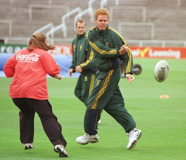 South Africa's Shaun Pollock shows his rugby skill