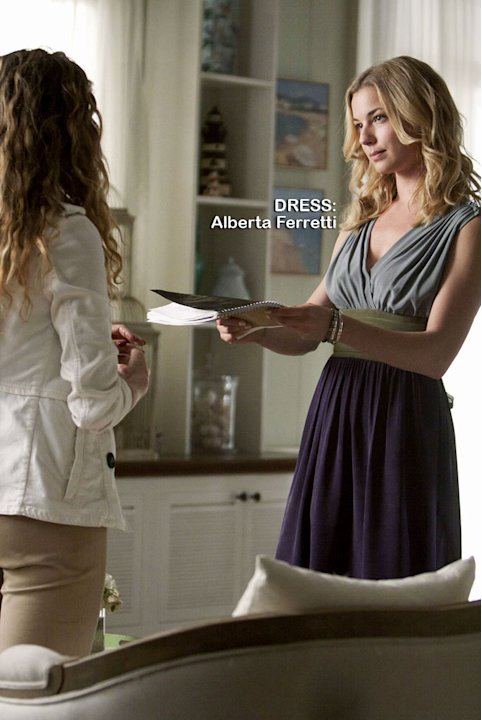 "Margarite Levieva as Amanda Clarke and Emily VanCamp as Emily Thorne in the Season 1 episode ""Loyalty."" Revenge"
