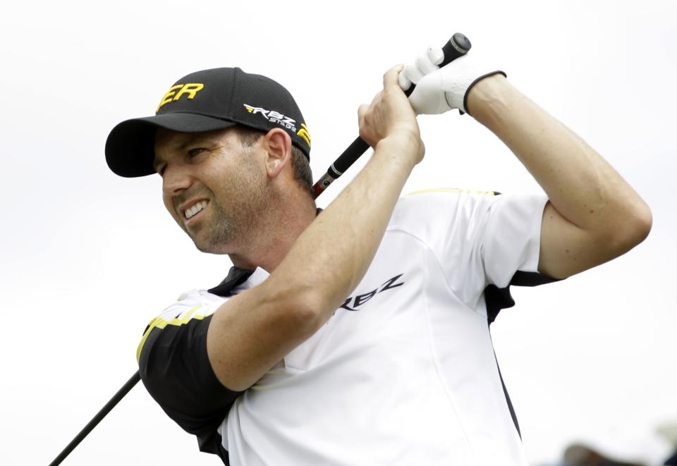 Sergio Garcia, of Spain, follows his shot from the second tee during the third round of the Cadillac Championship golf tournament on Sunday, March 10, 2013, in Doral, Fla. (AP Photo/Alan Diaz)