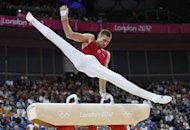 Hungary's Krisztian Berki competes during the men's pommel horse final of the artistic gymnastics event of the London Olympic Games at the 02 North Greenwich Arena in London. Berki won the gold medal