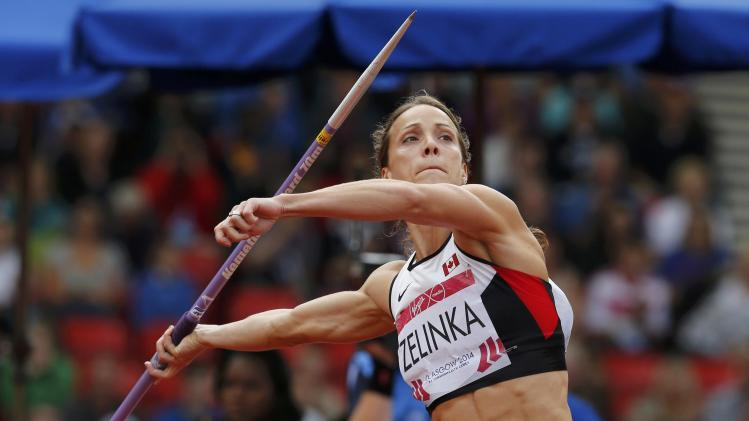 Zelinka of Canada competes in the Women's Heptathlon Javelin Throw at the 2014 Commonwealth Games in Glasgow