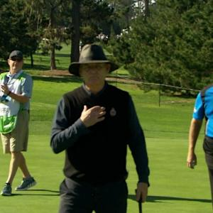 Bill Murray trickles in a short par putt at AT&T Pebble Beach