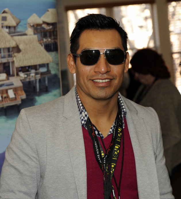 Actor Eloy Mendez wears Leisure Society sunglasses at the Fender Music lodge during the Sundance Film Festival on Sunday, Jan. 20, 2013, in Park City, Utah. (Photo by Jack Dempsey/Invision for Fender/