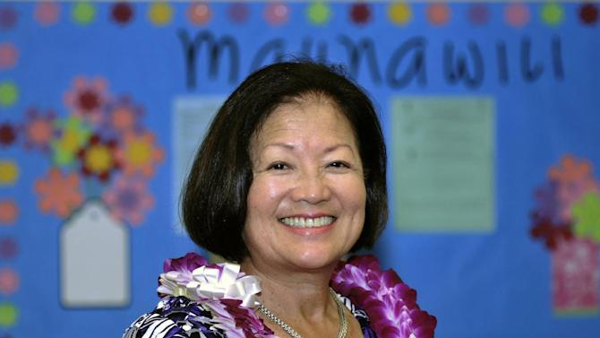 FILE -  In this Oct. 19, 2010 file photo, Rep. Mazie Hirono, D-Hawaii participates in Meet the Candidates Forum at Maunawili Elementary School in Kailua.  It's a once-in-a-generation occurrence: a competitive U.S. Senate race in Hawaii.  And that's exactly what may be shaping up as two Democrats, Rep. Mazie Hirono and former Rep. Ed Case, square off in a primary Saturday. They're seeking the chance to take on former two-term Hawaii Gov. Linda Lingle in November. No matter which Democrat wins Saturday's primary, they'll face a tough fight from Lingle. The outcome could help determine the balance of power in Washington; Republicans need to gain four seats to take back control of the Senate.  (AP Photo/Rebecca Breyer, File)