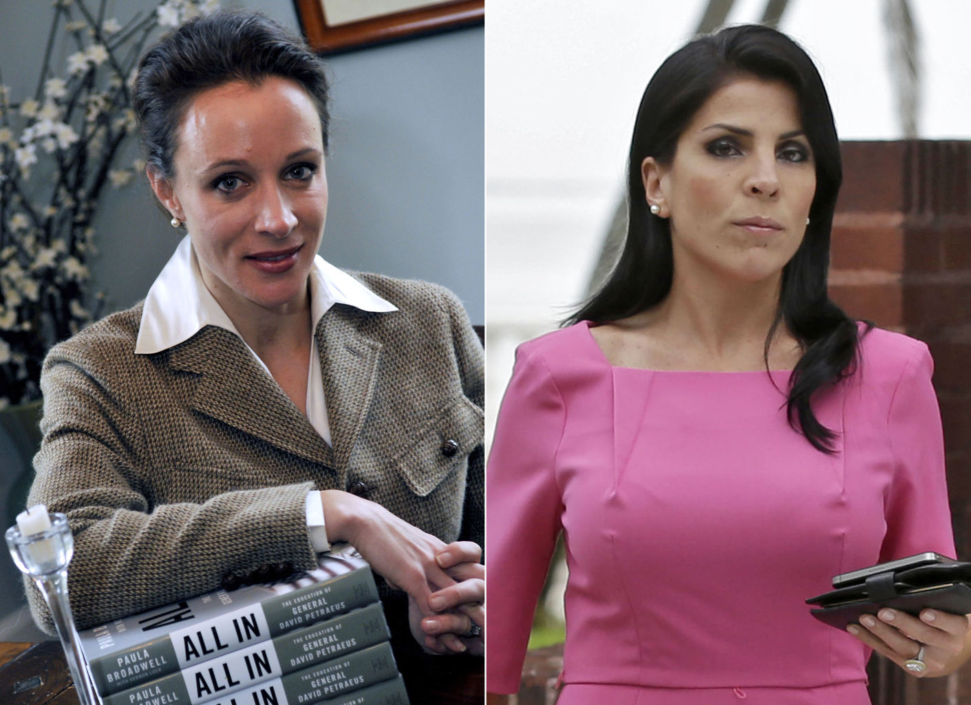 This combo made from file photos shows Gen. David Petraeus' biographer and paramour Paula Broadwell, left, and Florida socialite Jill Kelley. Broadwell and Kelley, the two women at the center of David Petraeus' downfall as CIA director, visited the White House separately on various occasions in what appear to be unrelated calls that did not result in meetings with President Barack Obama.