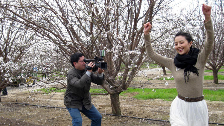 In this photo taken Wednesday, Feb. 23, 2011, Chinese movie star Gao Yuan Yuan poses for two Chinese television crews at an almond orchard near Bakersfield, Calif. Gao is California's almond ambassador in China and an example of how Central Valley farmers are trying to capture new markets in developing countries.  (AP Photo/Gosia Wozniacka)
