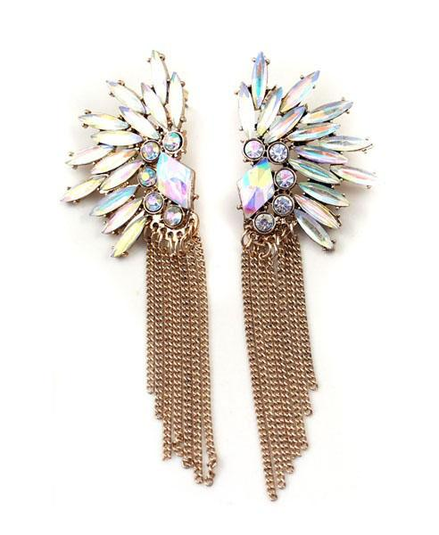 Shimmer Diamanted Peacock Earring with Fringe Design, $9.90 at chicnova.com