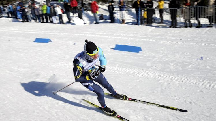Kazakhstan's Alexey Poltoranin, placed second, is skiing during the men's 15 km cross country skiing World Cup event at the Lahti Ski Games in Lahti, Finland on Sunday, March 10, 2013. (AP Photo/Lehtikuva, Markku Ulander) FINLAND OUT. NO SALES.