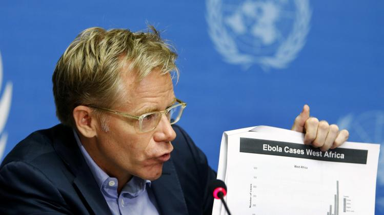 WHO Assistant Director General Aylward speaks during a press briefing on combating Ebola, at the UN headquarters in Geneva