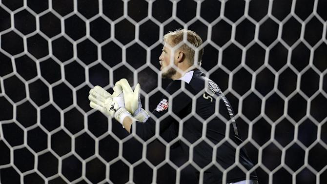 Leicester City's goalkeeper Kasper Schmeichel, seen in action during a League Cup match at the King Power Stadium in Leicester, on December 17, 2013