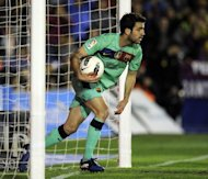 FC Barcelona's forward Cesc Fabregas, pictured in action during their Spanish La Liga match vs Levante, on April 14, at the Ciutat de Valencia stadium. Barca play Real Madrid next, on Saturday, at the Nou Camp, in the sixth 'Clasico' of the season