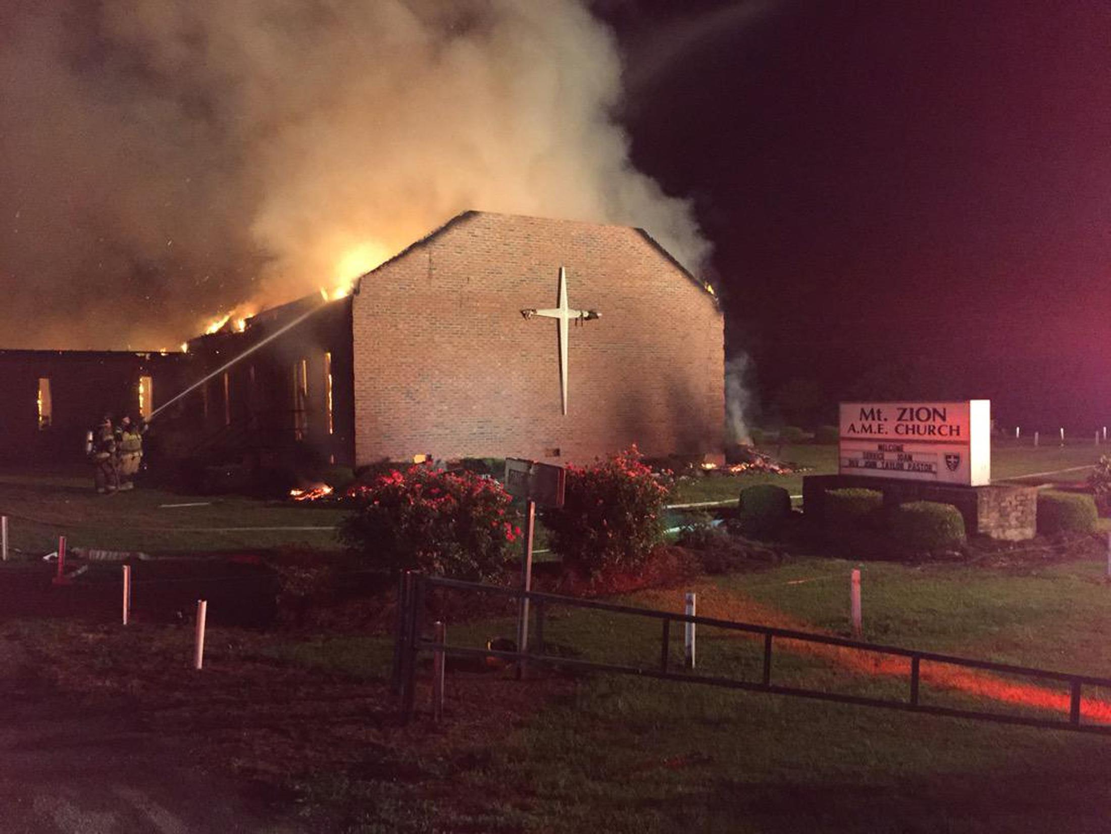 Church fire in Greeleyville, S.C.
