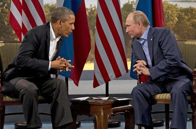 President Barack Obama meets with Russian President Vladimir Putin in Enniskillen, Northern Ireland, Monday, June 17, 2013. Obama and Putin discussed the ongoing conflict in Syria during their bilater
