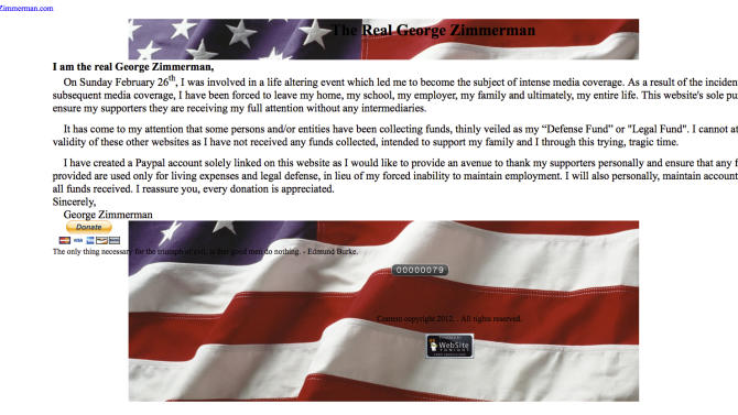 This image made from the website therealgeorgezimmerman.com. shows writings by George Zimmerman. Craig Sonner, attorney for George Zimmerman, on Tuesday, April 10, 2012 is confirming the authenticity of a new website that allows supporters to raise money for Zimmerman.  Zimmerman is at the center of an investigation over the shooting of 17-year-old Trayvon Martin. Zimmerman says he shot Martin in self-defense after following him in a gated community on Feb. 26.   (AP Photo)