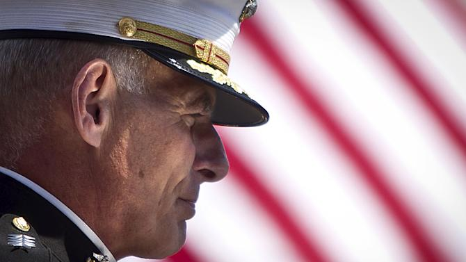 General John Kelly of the United States Marine Corps speaks during a Memorial Day ceremony at the Intrepid Sea, Air & Space Museum in the Manhattan borough New York