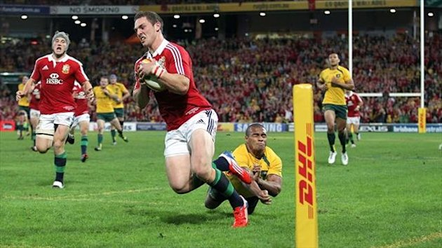 George North, centre, registered the Lions' first try with a breathtaking solo effort