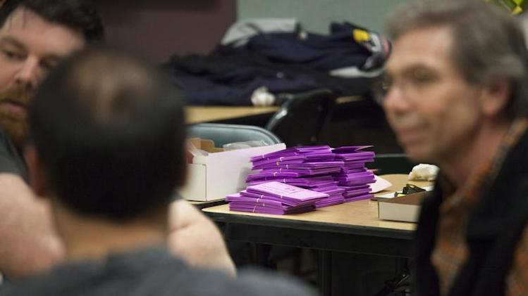 Ballots are pictured at IAM District Lodge 751 headquarters in Seattle