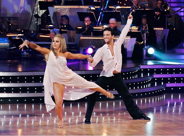 Shawn Johnson and Mark Ballas perform the Rumba to &quot;Slow Dancing in a Burning Room&quot; by John Mayer on &quot;Dancing with the Stars.&quot; 