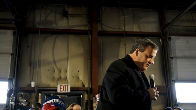 U.S. Republican presidential candidate Chris Christie speaks at a campaign event in Bedford