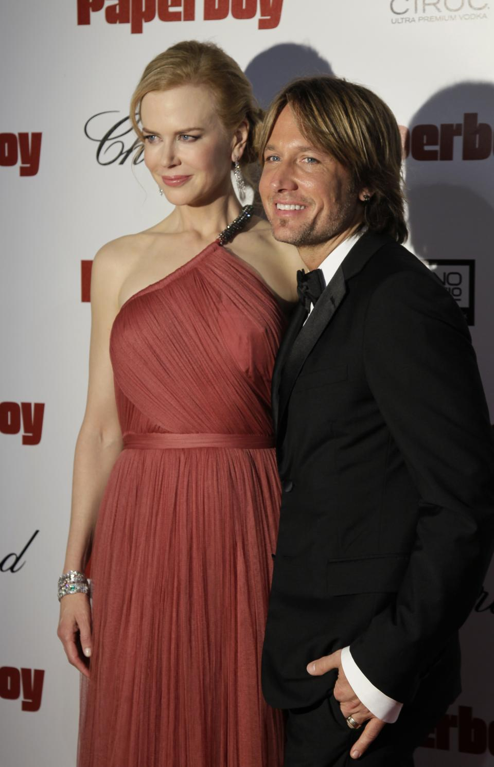 Actress Nicole Kidman, left, and musician Keith Urban arrive at the party for the paperboy at the 65th international film festival, in Cannes, southern France, Thursday, May 24, 2012. (AP Photo/Francois Mori)
