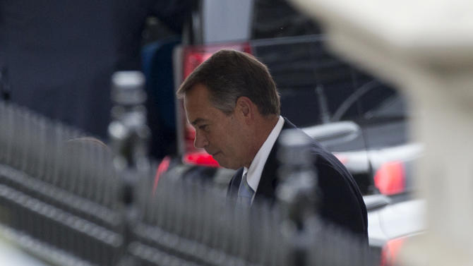 House Speaker John Boehner of Ohio enters the White House in Washington, Friday, March 1,  2013, for a meeting with President Barack Obama and Congressional leaders to discuss the automatic federal spending cuts. A fiscal deadline all but blown, President Barack Obama says he once again wants to seek a big fiscal deal that would raise taxes and trim billions from expensive and ever growing entitlement programs.  (AP Photo/Carolyn Kaster)
