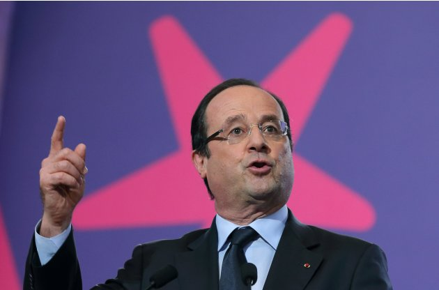 French President Hollande delivers his speech at the Social Conference in Paris