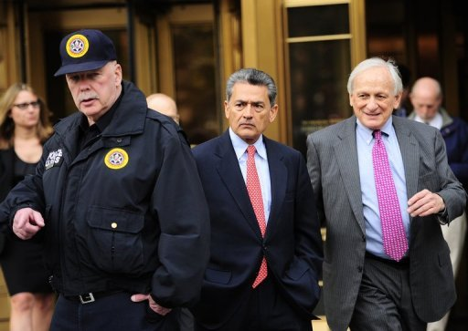 <p>Former head of global consulting firm McKinsey & Co. and former director at Goldman Sachs Group, Rajat Gupta (C) leaves federal court in New York, in 2011. Gupta, found guilty of insider trading, was to be sentenced and wants the judge to have him do charity work in Rwanda rather than time in a US prison.</p>
