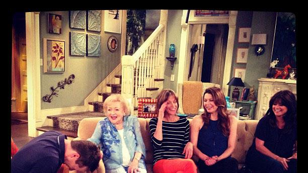 Betty White Yahoo! TV Instagram: Cracking up executive producer Sean Hayes during our interview... Not hard to do! With Wendie Malick, Jane Leeves and Valerie Bertinelli. -Betty #bettywhite #hotlive #hotincleveland #tvland #LOL