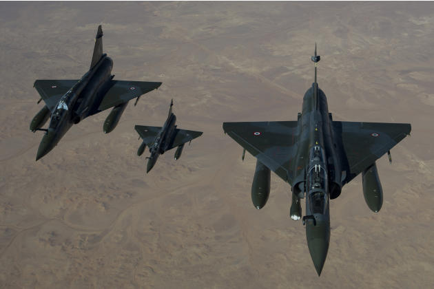 This picture released by the French Army Communications Audiovisual office (ECPAD) shows French Mirage 2000 D aircraft flying to N'Djamena overnight January 11 to 12, after taking off from the French