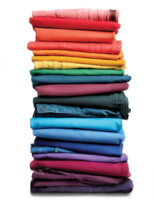 Stacks of coloured denim, Jan 13, p42