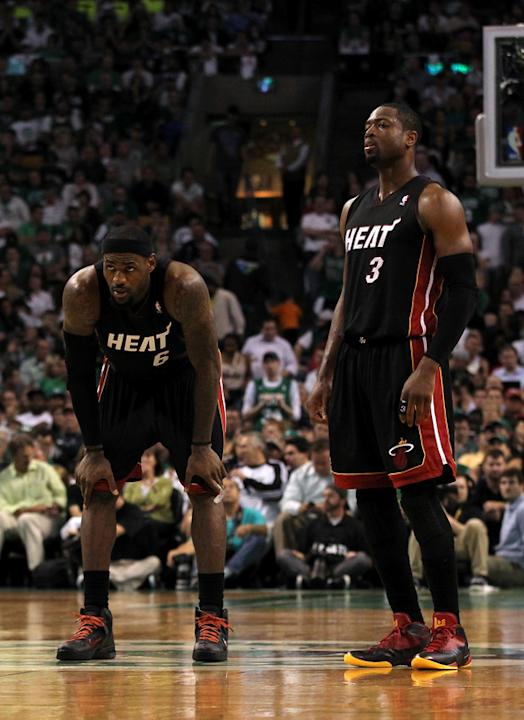 (L-R) LeBron James #6 And Dwyane Wade #3 Of The Miami Heat Look On Against The Boston Celtics In Game Four Of The  Getty Images