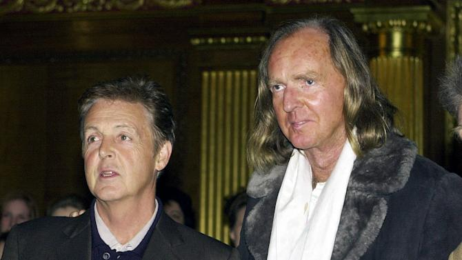 Jan. 27 2011 file photo of Sir Paul McCartney , left, with British composer Sir John Tavener who has died at the age of 69, his music publisher announced Tuesday Nov. 12, 2013. In the late 1960s he was famously signed to The Beatles' record label Apple and his music was notably performed at the funeral of Diana, Princess Of Wales, in 1997.(AP Photo/ John Stillwell, PA) UNITED KINGDOM OUT NO SALES NO ARCHIVE
