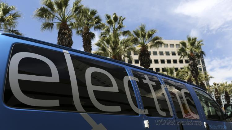 A Chevrolet electric van is shown at Electric Power Research Institute's Plug-In 2014 conference in San Jose