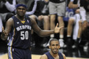 Memphis Grizzlies&#039; Mike Conley (11) and Zach Randolph react to a call during the second half of Game 1 of the Western Conference final NBA basketball playoff series against the San Antonio Spurs, Sunday, May 19, 2013, in San Antonio. San Antonio won 105-83. (AP Photo/Darren Abate)