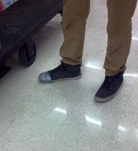Cop Steps In When He Sees Teen's Shoes Are Wrapped in Duct Tape